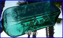 1800's Teal Blue Dr. Townsend's Sarsaparilla, Albany Ny. Antique Bitters Bottle