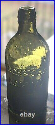 1823-1833 Pontiled Lynch & Clarke Olive Green Saratoga Ny Mineral Water Bottle