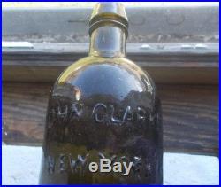 1830s ROUGH SAND PONTIL JOHN CLARKE NEW YORK BLACKGLASS OLIVE GREEN PINT WATER