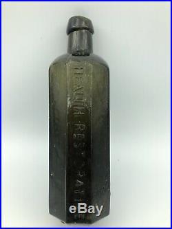 1840 C Brinckerhoffs Pontiled Patent Medicine Bottle Olive GreenColor New York