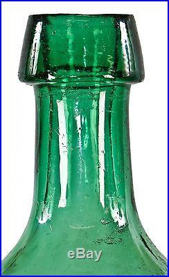 1840's Light Emerald Green Glass Knickerbocker Soda Bottle Ny Smith