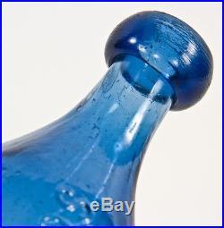 1849-55 Dug Cobalt Blue Iron-pontiled Knickerbocker 10-side Ny Soda Bottle