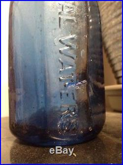 1850's J & A Dearborn New York Cobalt 8 Sided Iron Pontil Mineral Water Bottle