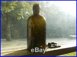 1850s ROUGH PONTIL CLARKE & WHITE NEW YORK OLIVE AMBER PINT MINERAL WATER BOTTLE