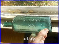 1870s DR. TOWNSEND'S SARSAPARILLA ALBANY, NY BEAUTIFUL TEAL COLOR BOTTLE