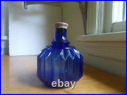 1880s RARE PLEATED COBALT BLUE HAYWARD HAND GRNADE FIRE EXTINGUISHER NY BOTTLE