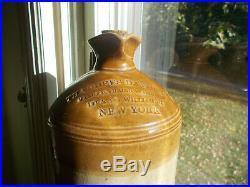 1880s THADDEUS DAVIDS NEW YORK 1/2 GALLON STONEWARE INK JUG WITH HANDLE SCARCE