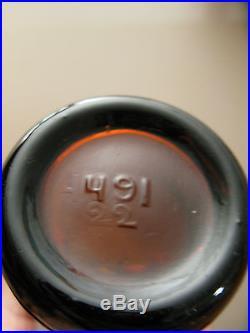 1900's Rare Amber Straight Side Heel Script Coca Cola Bottle, Goshen, N. Y