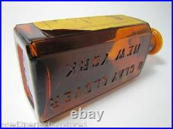 1920's GLOVER'S IMPERIAL TONIC DOG & HORSE MEDICINE Amber Bottle w Label NY
