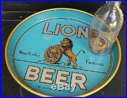 1930's Lion Beer Tray & Bottle New York Brewery Brewer Universal sign Co