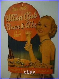 1930s Vtg Utica Club Beer Sign West End Brewing Utica NY IRTP Bottle Pinup Girl
