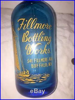 1935 Seltzer Bottle Sailboat Pyro. Yellow On Sapphire Blue Buffalo NY/Czech