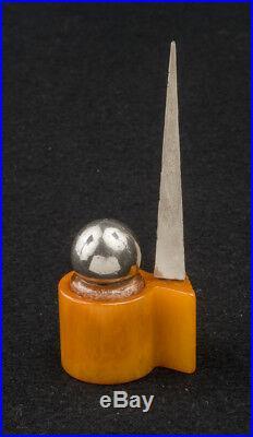 1939 NY WORLD'S FAIR Perisphere PERFUME BOTTLE withCatalin & steel TRYLON STAND