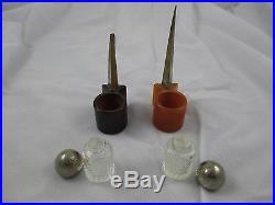 1939 NY World's Fair perfume bottles, Perisphere & Trylon, Bakelite & Chrome