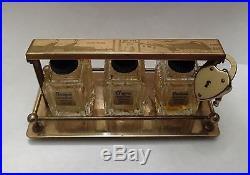 1939 New York Worlds Fair Brass Tantalus Glass Perfume Bottles Heart Lock Key NY
