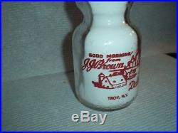 1950's J. J. BROWN Troy NEW YORK 1/2 pint N. Y. Dairy milk bottle BABY FACE PYRO