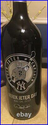2017 Derek Jeter New York Yankees Used Wine Etched Bottle Steiner Mlb 5/14 Hof