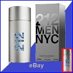 212 Men NYC By Carolina Herrera 3.4 OZ 100 ML Eau De Toilette Spray Tst Bottle