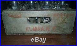 (24)1957 Fawn Beverage 6oz. Elmira, N. Y. Pyroglaze Crown Top Soda Bottles withcase