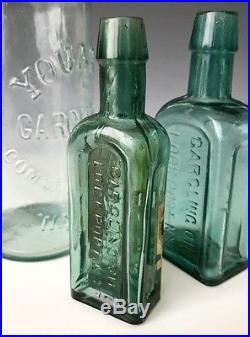 3 Antique NY Medicine Cure Bottles Merchants & Youatts Gargling Oil, c. 1880, NR