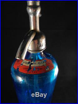 3 Vintage Seltzer Bottles Lot Blue, Clear, and Blue NY Area Bottlers