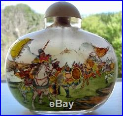 5 Antique Chinese Reverse Painted Glass Snuff Bottle Battle Scenes Ny Estate