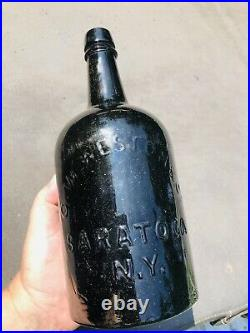 A+ Supercrude Whittled Black Glass Gw Weston Saratoga Ny Mineral Water Qt Bottle