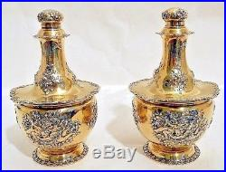A magnificent pair of sterling perfume bottles, Tiffany & Co, NY c. 1891-1902