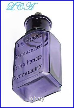 AMETHYST antique SAPONACEOUS TOOTH POWDER embssed 1800s DENTAL bottle BUFFALO NY