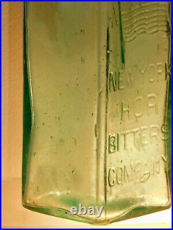 ANTIQUE BOTTLE NEW YORK HOP BITTERS COMPANY AQUA RARE CASE BITTERS BOTTLE 1880's