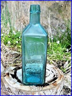 ANTIQUE BOTTLE NEW YORK HOP BITTERS COMPANY RARE TEAL BLUE OLD BOTTLE 1870's