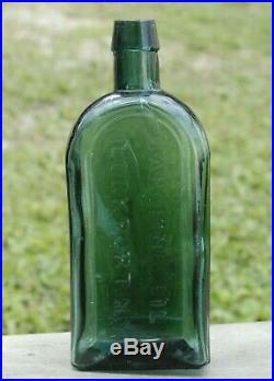 ANTIQUE Ca. 1880's TEAL GREEN GARGLING OIL BOTTLE LOCKPORT, N. Y