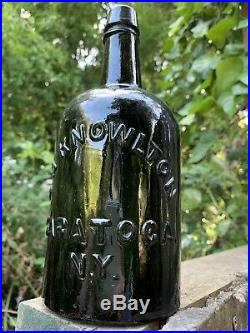 ANTIQUE D. A. KNOWLTON SARATOGA N. Y. DEEP GREEN 1860s QUART MINERAL WATER BOTTLE