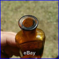 Amber Riker Jayne Drug Store Antique Medicine Bottle Slogan c1890s NY
