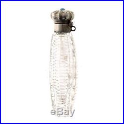 American Sterling Silver Cut Crystal Perfume Scent Bottle Woodside NY Circa 1900