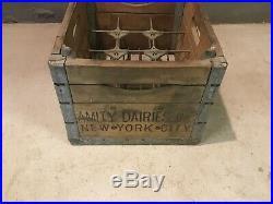 Amity Dairy New York City Milk Bottle Crate Wood Metal Industrial Vintage Rare