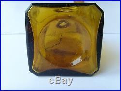 Antiq Scarce Joseph Galway NY Yellow Square Whiskey Bottle 9 18601870 46/9