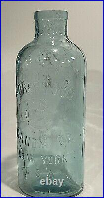 Antique 1890's 13 Inch Tall Robertson Candy Co. Of New York Aqua Blue Glass Jar