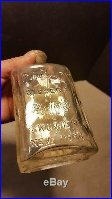 Antique 7 Sutherland Sisters Hair Grower New York Restorer Tonic Bottle Cure All