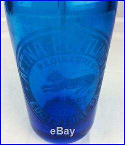 Antique Aetna Eddystone PA blue Seltzer bottle w Dog double marked Admiral co NY