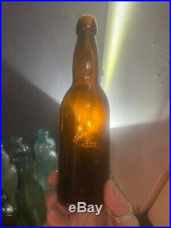 Antique Amber Lady Leg Blob Top Beer Fitzgerald Bros Troy, NY