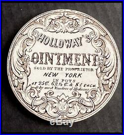 Antique American Pot Lid Advertising USA NY Holloways Ointment Early Transferwar