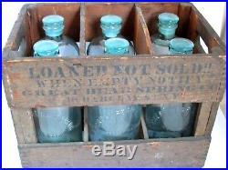 Antique Bear Spring Co. N. Y. 6 Glass Bottles in Original Crate