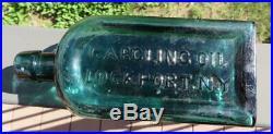 Antique Bottle, Patent Medicine, Gargling Oil / Lockport, N. Y, Emerald Green