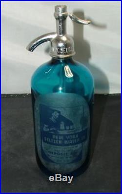 Antique DETROIT New York Seltzer Water Co. Blue Etched glass Bottle
