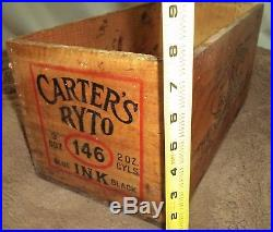 Antique Dovetailed CARTER's 146 RYTO Ink Bottle wood Crate Box PROP Boston, N. Y