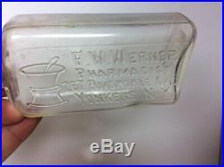 Antique Embossed FW WERNER Pharmacist Drug Bottle Pharmacy Riverside Yonkers NY