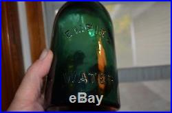 Antique Empire Spring Co Mineral Water Bottle Saratoga Ny Dark Emerald Green