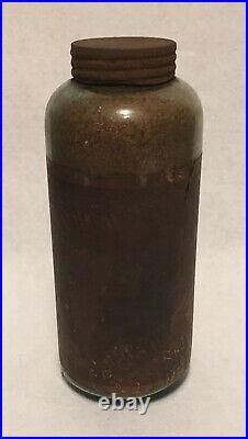 Antique F. E. McALLISTER'S MOCKING BIRD FOOD Bottle NY Withoriginal Label Contents