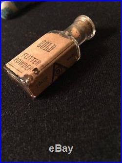 Antique Glass Tiny Bottle Of Gold Flitter (Fairydust) Powder F. W. Devoe & Co NY